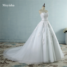 ZJ9032 2017 lace flower Sweetheart White Ivory Fashion Sexy Wedding Dresses for brides plus size maxi size 2-26W