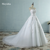 9030 2016 Beads Crystal Sweetheart Lace White Wedding Dresses For Brides Plus Size Maxi Size 2