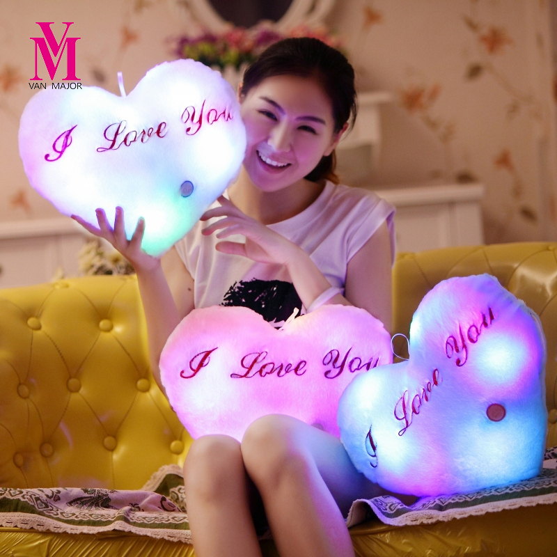 Vanmajor Colorful Night Light Kids Plush Toys Shining Luminous LED Pillow Plush Toys Valantines Gifts Baby Toys Birthday Gifts
