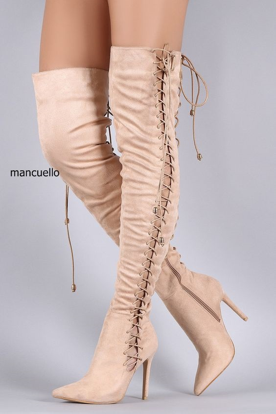 New Arrival Women Beige Suede Pointed Toe Stiletto Heel Over The Keen High Boots Sexy Side and Back Lace Up Half Zip Long Boots burgundy sexy suede lace up back design vest