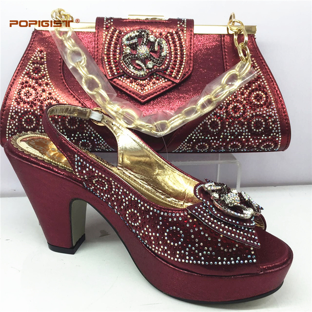 6028a87b55c New Arrival Wine Color African Shoes and Matching Bags Italian Nigerian  Women Wedding Shoes and Bag Set Party Shoes and Bag Sets