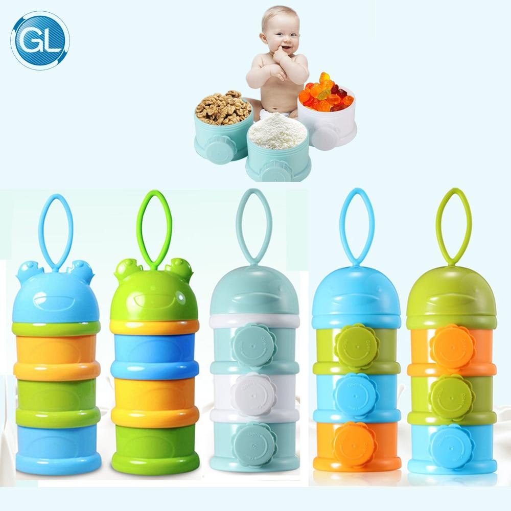 Tragbare Fach Kinder Milchpulver Flasche Kinder Cookies Mutter Desserts Container Sicher Für Kinder Baby Milch Container 4 Schichten Flaschenzuführung