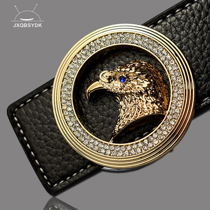 JXQBSYDK Luxury Brand   Belts   for Men Eagle Head Buckle Designer High Quality Fashion Male Leather   Belts   cinto masculino couro