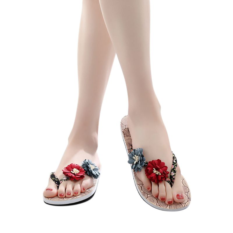 New Woman shoes Summer Non-slip Wood Flowers Print Beach Clogs  Flip Flops Flat Slippers zapatos de mujerNew Woman shoes Summer Non-slip Wood Flowers Print Beach Clogs  Flip Flops Flat Slippers zapatos de mujer