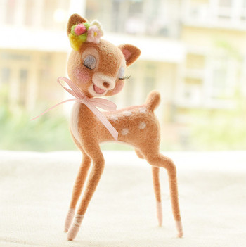 Cervo Sika animale del fumetto set di lana ad ago kit lana feltro needle felting decorazione del mestiere ricamato a mano a mano FAI DA TE