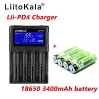 1pcs LiitoKala lii PD4 LCD 3.7V 18650 21700 battery Charger+4pcs 3.7V 18650 3400mAh INR18650 34B li ion Rechargeable Batteries
