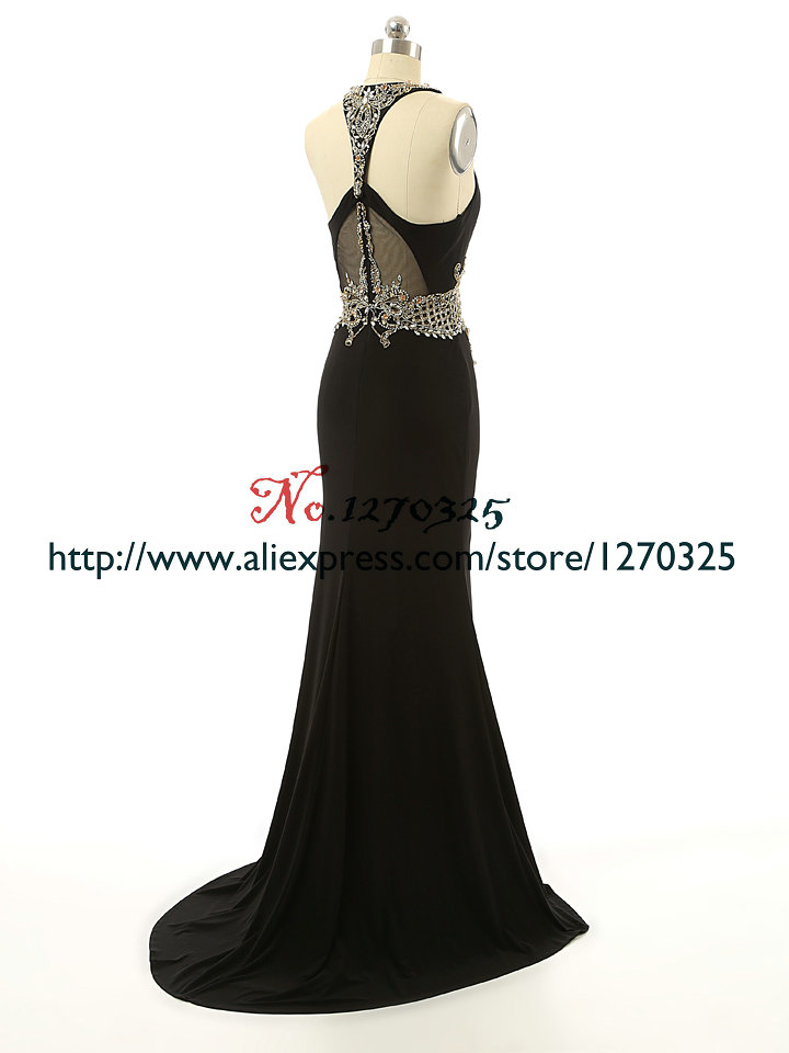 Robe de soiree 2018 new chiffon crystal high split open sexy mermaid black turkish evening gowns real photo caftan