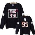 2017 новый осень kpop bts bangtan мальчики альбом цветочный письмо печатные вентиляторы поддерживают толстовка для женщин пуловеры моды толстовки