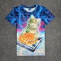 Cat Hot DJ Patas Pizza Galaxy 3D Imprimir T-shirt de Algodão Unisex Verão Camisetas Homme Fãs Adolescentes Soltos Tops Gatinho Djing