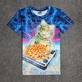 Patas Del Gato caliente de DJ Pizza Galaxy 3D Print Camiseta de Algodón Unisex Del Verano Tee Shirts Fans Adolescentes Sueltos Homme Tops Gatito pinchar
