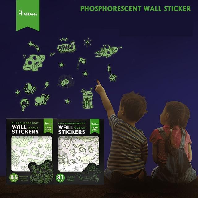 mideer children kids baby phosphorescent wall stickers 81pcs ocean
