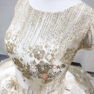 Image 5 - עלה שמפניה שמלת כלה נצנצים שרוולים קצרים 2018 יוקרה Moda מוסלמי כדור שמלת חתונת שמלות ארוכה רכבת ערבית