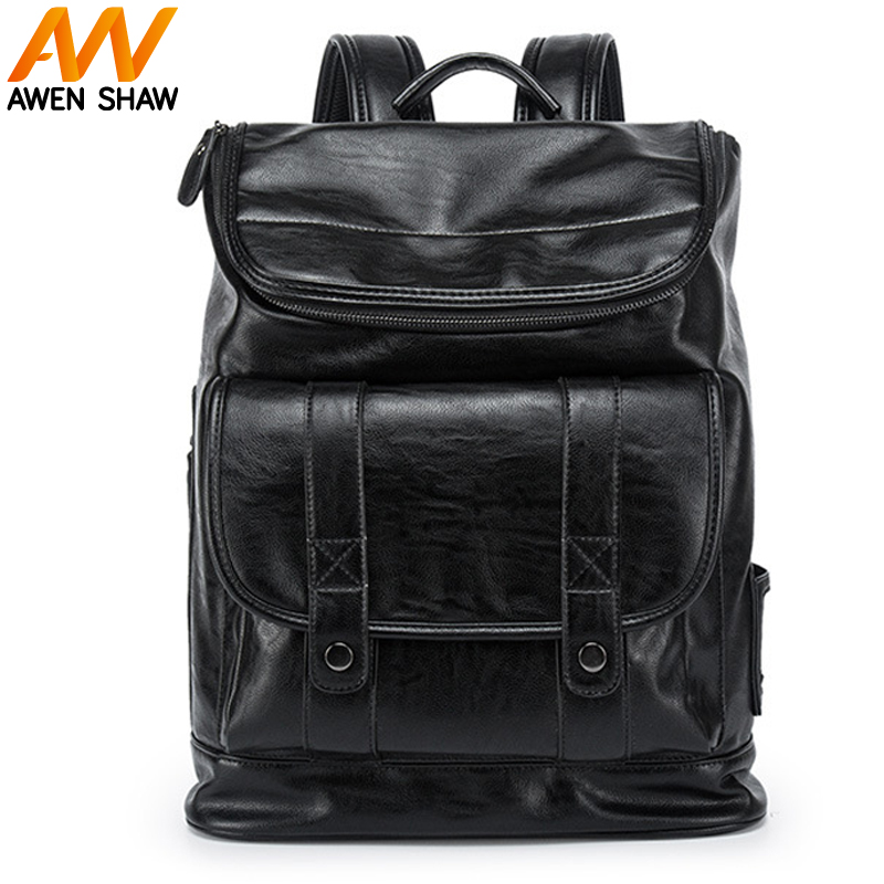 AWEN SHAW Fashion New Leather Men Day Backpack High Quality Business Laptop Bag Large Capacity Travel Weekend Man Backpack Bag 1