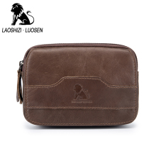 LAOSHIZI LUOSEN Original Leather Waist Bag Menn Vintage Cowhide Belt Bag Telefon Veske Lomme Purse Fanny Pack