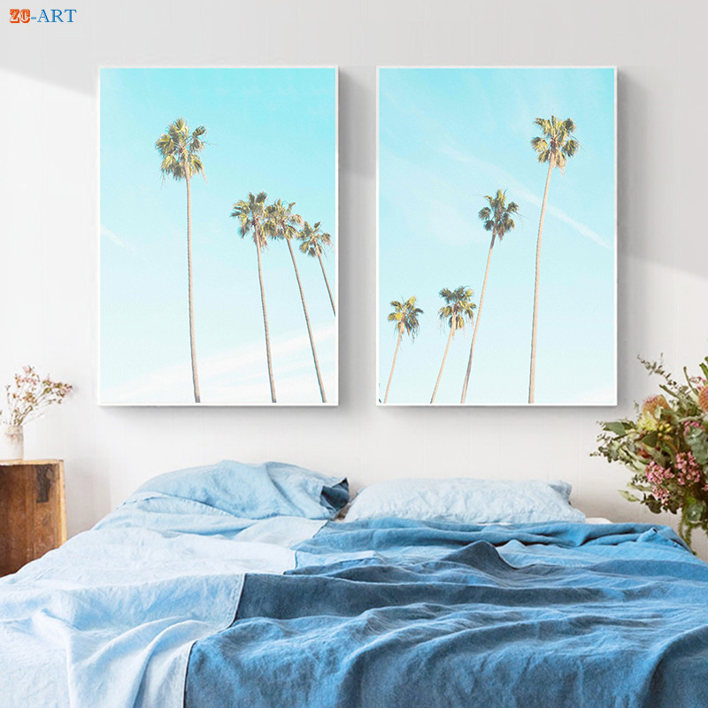 Beachy Living Room Big On Wall Decor: Palm Tree Print Nature Poster Canvas Painting Large Wall
