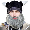 Vikings Beanies Beard Horn Hats Handmade Knitted Winter Warm Caps Men's Women Birthday Cool Gifts Funny Cool Gag Party Xmas Mask