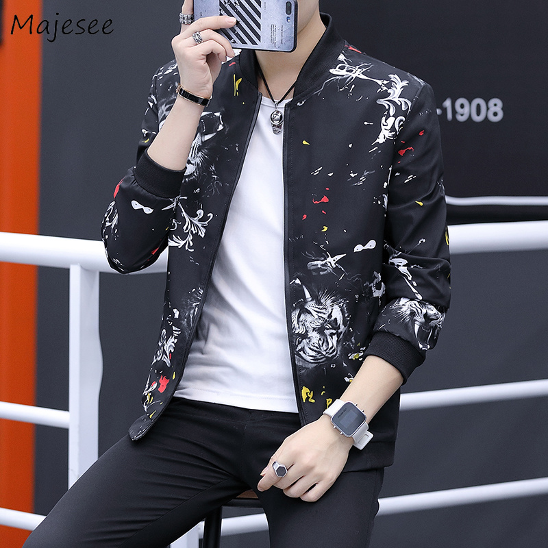 Jackets & Coats Jackets Men Stand Collar Printed Zipper Pockets Leisure Daily High Quality Hip Hop Trendy Jacket Mens Ulzzang Soft Overcoats