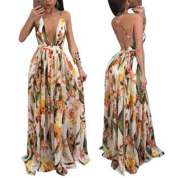 9f4a8d677a7 Спагетти ремень V шеи шифон Длинные платья Летние Для женщин Цветочный принт  крест-накрест спинки