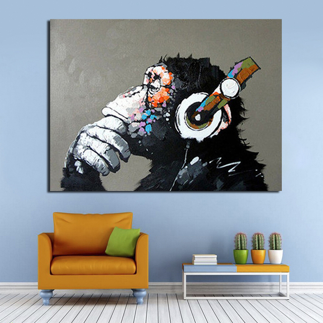 Hand Painted Canvas Oil Paintings Gorilla Enjoying Music Modern Animals Wall Pictures For Living Room Unframed Canvas Wall Art