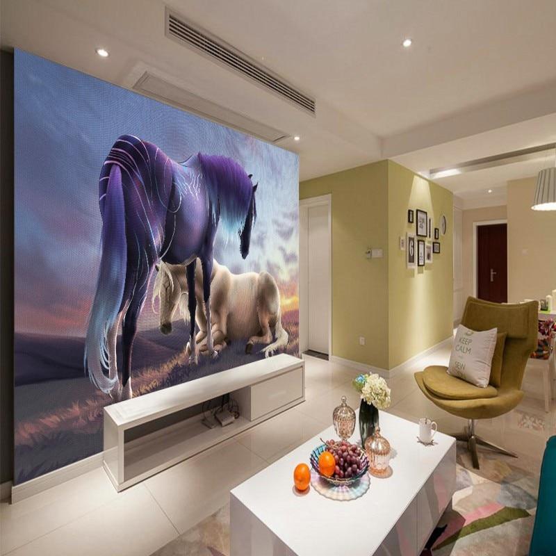 US $17.27 38% OFF|Individuelle fototapeten 3D stereo tapete Sonnenuntergang  pferd malerei hintergrund wand wohnzimmer tapete gewohnheit schlafzimmer ...