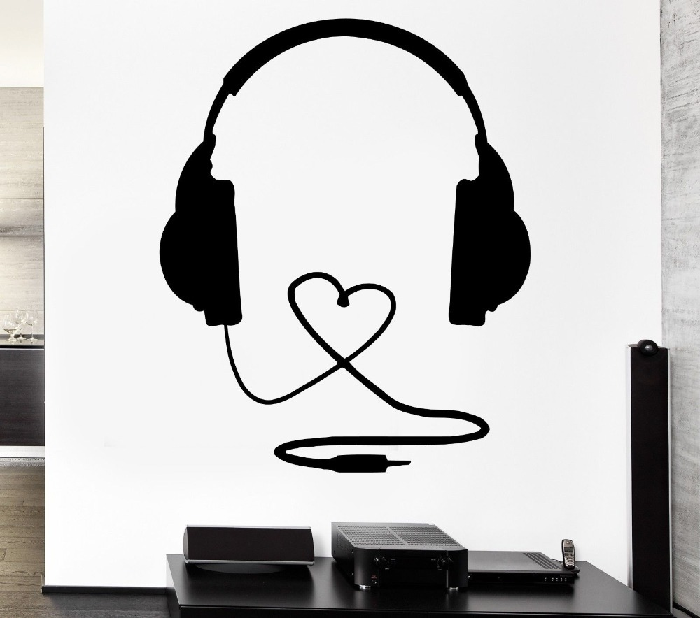 2015 Music Stylist Vinyl Wall Decal Headphones Music Sign Rock Pop Songs Cool Decor For Bedroom Art Wall Sticker Home Decoration image