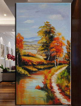 hand painted  MODERN ABSTRACT HUGE LARGE CANVAS ART OIL PAINTING trees river road landscape porch  paintings  no framed