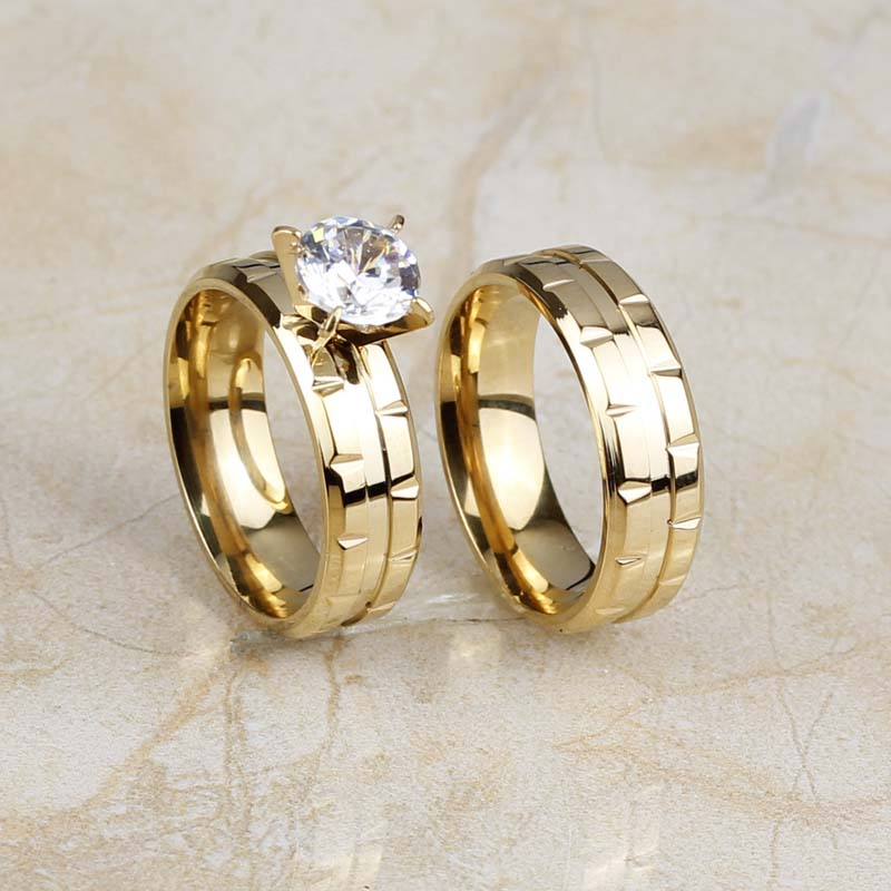 316l Stainless Steel Fashion Women Wedding Band Rings Set Gold Color Round Cut Aaa Cz Engagement