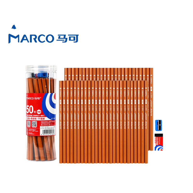 2017 Marco 50 Pieces/Box HB Sketch Painting Drawing Pencil Set Best Quality Non-toxic Standard Pencils for Office School Pencil 12 pcs box h 9b sketch drawing pencil set best quality non toxic pencils set wooden charcoal pencil for kids school pencil