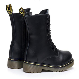 Image 3 - NEW 2020 Spring Genuine Leather Children Motorcycle boots British style Baby Girls shoes Military boots Boys Kids Snow Boots 04