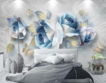 Custom 3D wall stickers Embossed rose 3D Mural Wall Paper For Living Room mural wall TV Background Home Decor 3d wallpaper walls