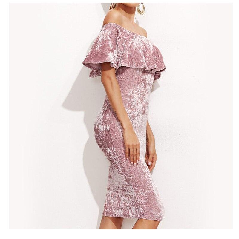 2017 Sexy Frauen Pink Velvet Etuikleid Damen Knielang Elegante - Damenbekleidung - Foto 2