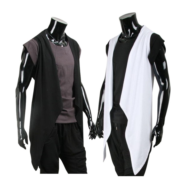 2020 Hot New Wave Of Men Sleeveless Vest Shawl Long Section Of Thin Cotton Sleeveless Cardigan Vest Free Shipping