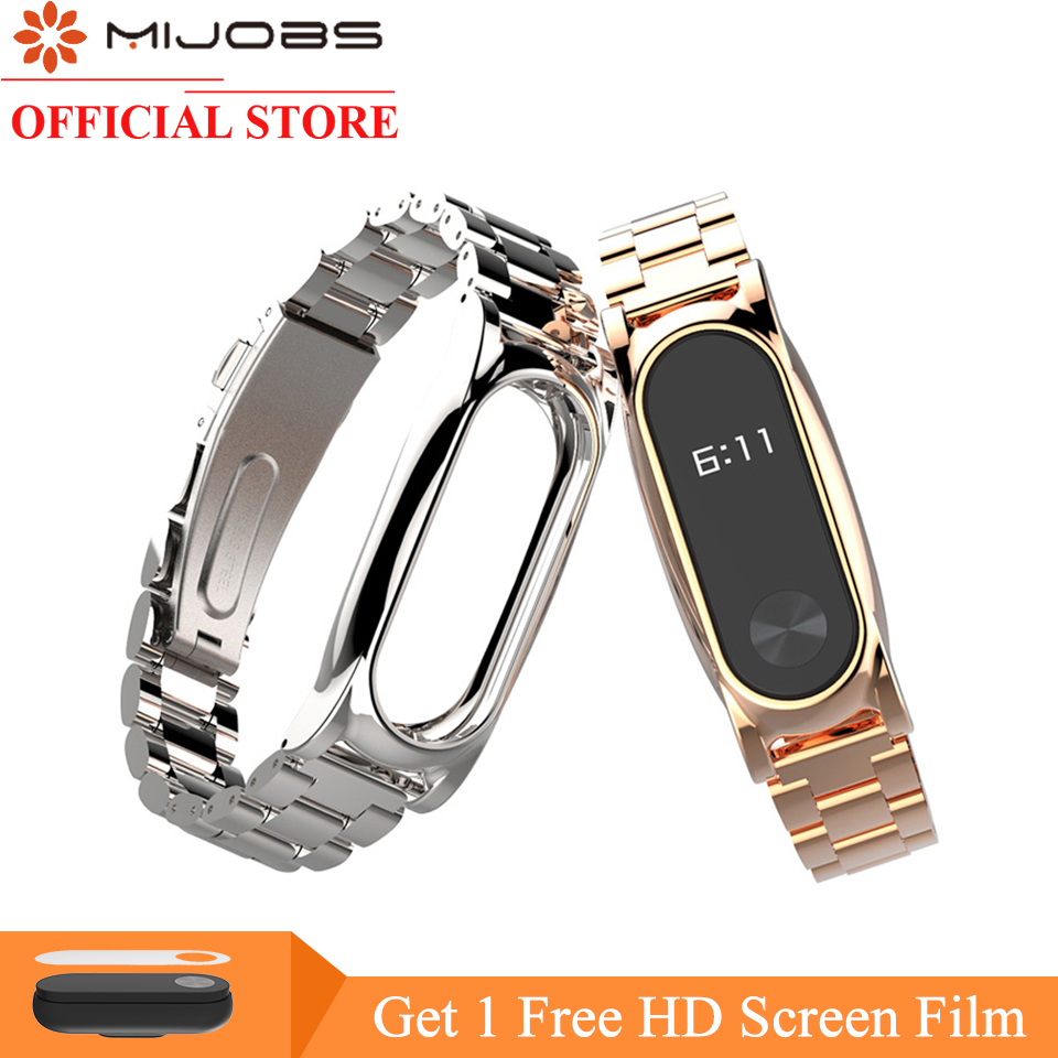 Mijobs Metal Strap For Xiaomi Mi Band 2 Strap Screwless Stainless Steel Bracelet Smart Watch Replace Accessories For Mi Band 2
