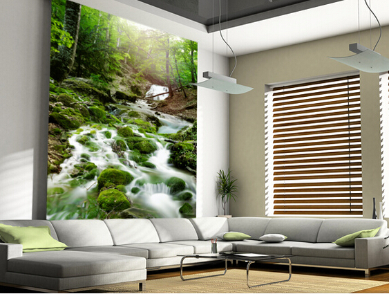 Custom photo landscape wallpaper. 3d Foggy Forest Waterfall for living room bedroom kitchen wall waterproof PVC papel de parede custom 3d photo wallpaper 3d stereoscopic green forest mural for living room bedroom tv backdrop waterproof papel de parede