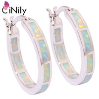 2015 Wholesale Retail For Women Jewelry Orange White Blue Pink Opal Silver Plated Earrings 7 8