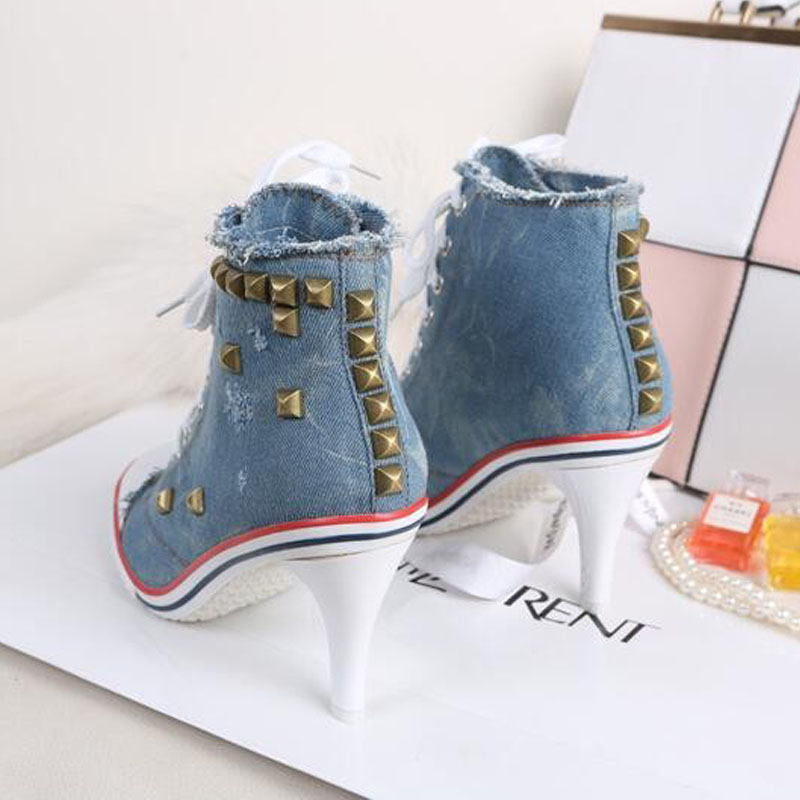 New Novelty Women Sexy Rivets Canvas High Heels Ankle Boots ,Girls Casual Jeans Denim Pumps Party Shoes guess shoes jeans pumps