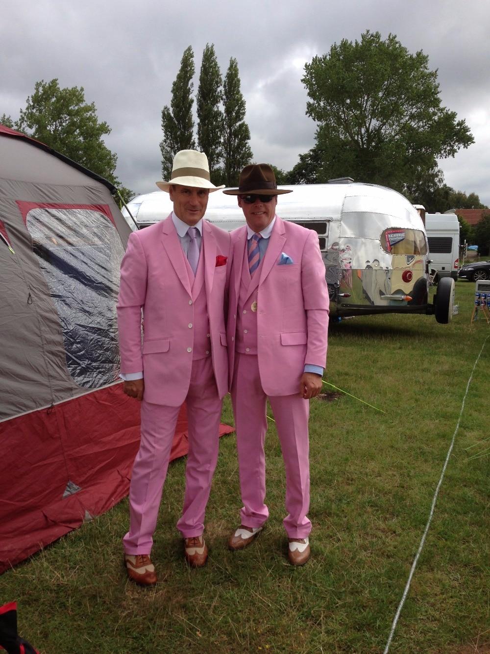 2017 Latest Coat Pant Designs Hot Pink Men Suit Groom Jacket Slim Fit 3 Piece Tuxedo Style Suits Custom Prom Blazer Masculino C5
