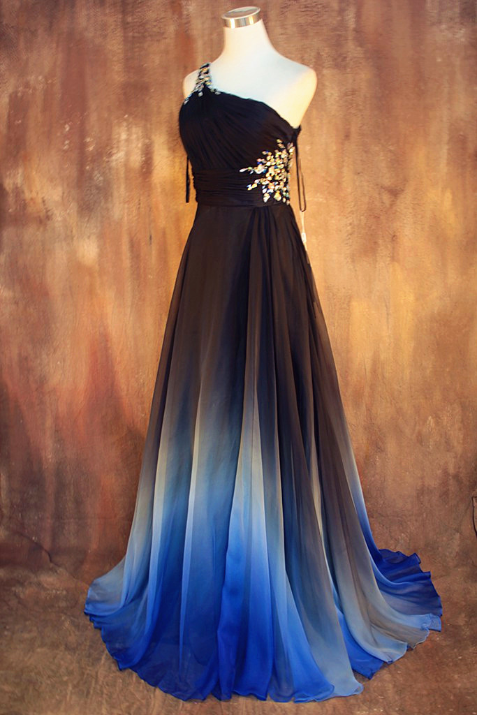 New arrival gradient chiffon prom dress evening dress for Blue and black wedding dresses