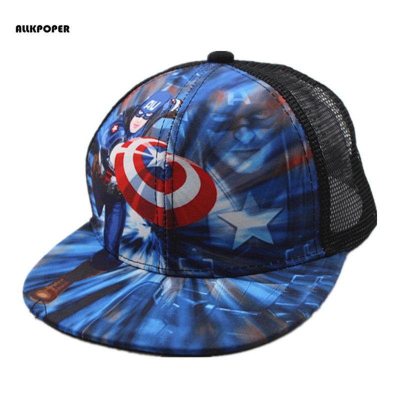 0cfd3a15317f3 ALLKPOPER de béisbol Gorras de moda Superman Batman niños Snapback Gorras  Planas chicos Hip Hop sombrero de malla de verano sombreros