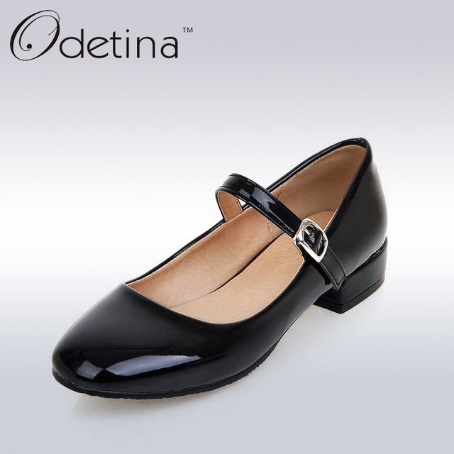 c07983cc5f4e Odetina Handmade Large Size Mary Janes Buckle Strap Shoes Low Heel Jane  Shoes Flat Ladies Square