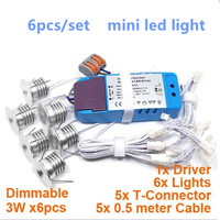 6pcs/set with driver 3W/pcs with Driver LED mini spot light LED ceiling lamp cupboard cabinet light Dimmable Downlight