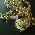 18CT 18K Gold Filled Heart Belcher Bolt  chain padlock Solid necklace N188