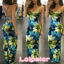 2018 Fashion Womens Sleeveless Boho Dress Ladies Floral Print Summer Long Maxi Dresses Women Sexy Sundress Laipelar