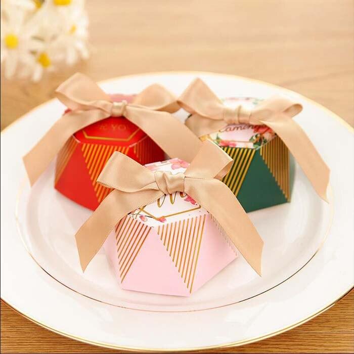 100pcs/50pcs Pink Diamond Candy Box Wedding Sweet Gift Box Baby Shower Birthday Party Favor Box With Ribbon