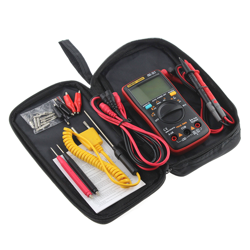 AN8008 AN8009 Auto Range Digital Multimeter 9999 counts With Backlight AC/DC Ammeter Voltmeter Ohm Transistor Tester multi meter professional and practical an8001 digital multimeter 6000 counts backlight ac dc ammeter voltmeter ohm portable meter