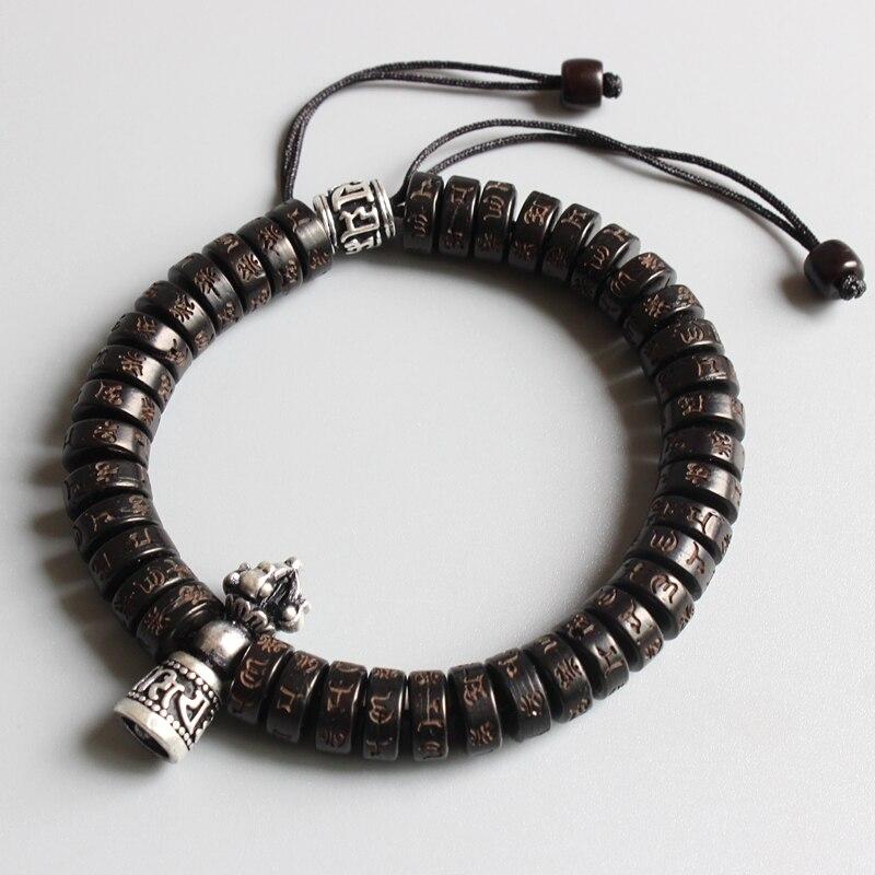 Eastisan Tibetano buddismo Vajra Fascino Naturale guscio di noce di Cocco beads OM Mani Padme Hum Braccialetto Per L'uomo Le Donne Handmade Dropshipping