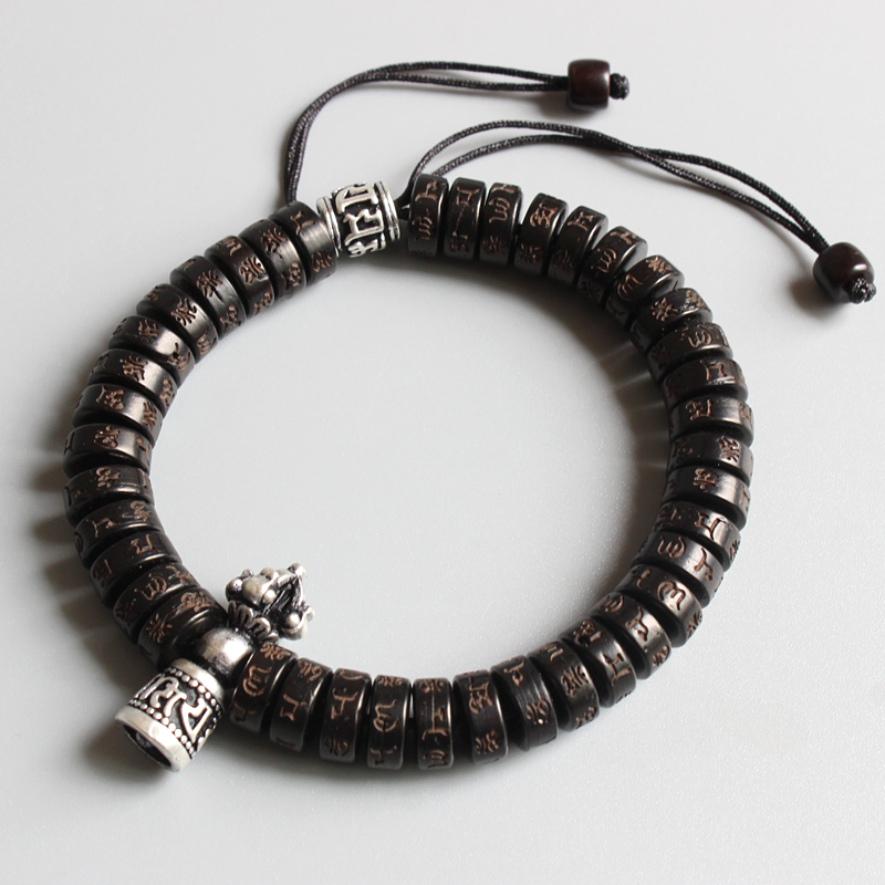 Eastisan tibetano budismo Vajra encanto Natural Coco shell cuentas OM Mani Padme Hum pulsera para hombre mujer hecho a mano Dropshipping