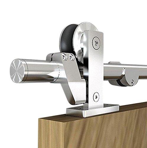 цена на DIYHD 12FT Stainless Steel Top Mount Double Sliding Barn Closet Cabinet Door Track Hardware Kit (12ft-double door kit)