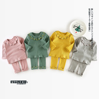 Baby Girls Set Knitted Cotton Flower Collar Pullover T Shirt Girl Suit Infant Leggings Pants Suit