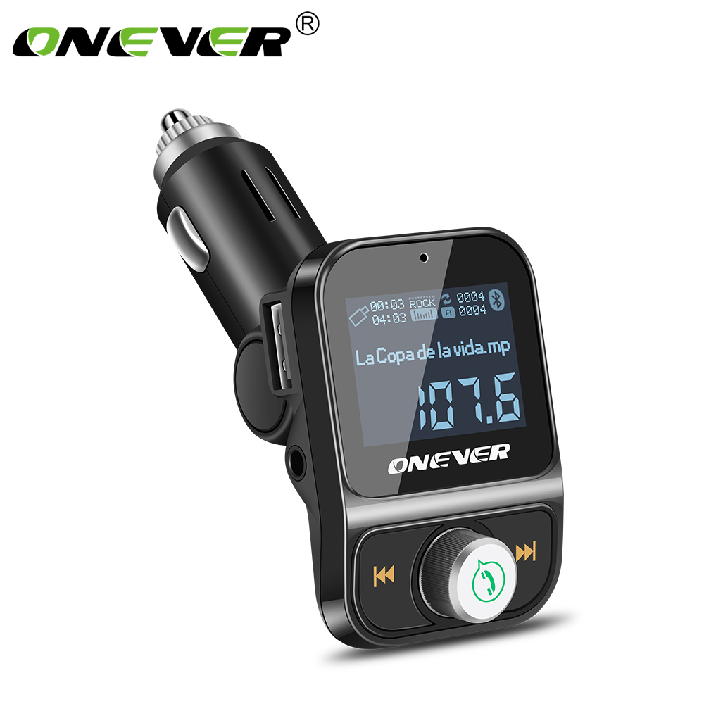 Onever FM Transmitter Wireless Bluetooth FM Modulator Handsfree Car Kit LCD Radio Audio Car MP3 Player 3.5mm AUX Adatper FLAC  executive car